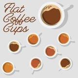 Progettazione piana minima Tazza di caffè moderna su un fondo & su un buon testo Vista superiore illustrazione vettoriale