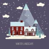 Progettazione piana moderna CI della campagna della neve di inverno del paesaggio della città del villaggio di Real Estate del nu Immagine Stock