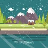 Progettazione piana moderna CI della campagna della neve di inverno del paesaggio della città del villaggio di Real Estate del nu Immagini Stock Libere da Diritti