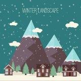 Progettazione piana moderna CI della campagna della neve di inverno del paesaggio della città del villaggio di Real Estate del nu Fotografia Stock
