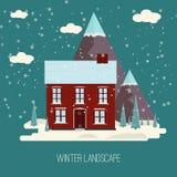 Progettazione piana moderna CI della campagna della neve di inverno del paesaggio della città del villaggio di Real Estate del nu Fotografia Stock Libera da Diritti