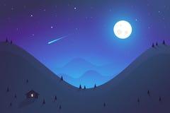 Progettazione piana Paesaggio delle montagne di notte Immagine Stock Libera da Diritti