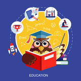 Progettazione piana per il concetto di istruzione con un gufo Immagini Stock