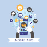Progettazione piana per l'insieme mobile di concetto dei apps Fotografia Stock