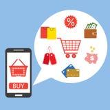 Progettazione piana per la compera sul cellulare o la compera online via l'applicazione sullo smartphone Fotografia Stock