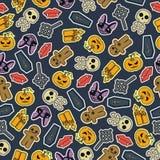 Progettazione piana senza cuciture di Halloween Progetti per carta da imballaggio, la carta che imballa, i tessuti, gli inviti de Fotografia Stock