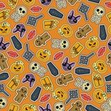 Progettazione piana senza cuciture di Halloween Progetti per carta da imballaggio, la carta che imballa, tessuti Fotografie Stock