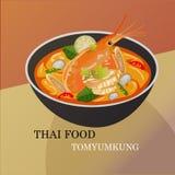 Progettazione piccante di vettore della minestra di Tom Yum Kung Thai Fotografia Stock Libera da Diritti