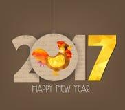 Progettazione poligonale del gallo del nuovo anno 2017 cinesi creativi illustrazione di stock