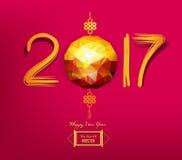 Progettazione poligonale della lanterna del nuovo anno 2017 cinesi illustrazione di stock