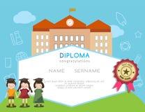 Progettazione prescolare della scuola elementare del certificato del diploma dei bambini Fotografie Stock