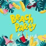 Progettazione quadrata dell'aletta di filatoio di estate per il partito della spiaggia di promozione con gli elementi variopinti  illustrazione di stock
