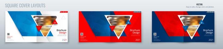 Progettazione quadrata della disposizione del modello dell'opuscolo con i triangoli Rapporto annuale del modello di affari corpor royalty illustrazione gratis