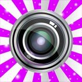 Progettazione realistica della lente di vettore moderno su fondo d'annata viola royalty illustrazione gratis