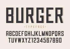 Progettazione regolare della fonte di vettore dell'hamburger retro, alfabeto, carattere, tipo illustrazione di stock