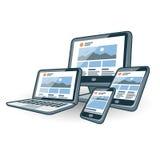 Progettazione rispondente del sito Web sugli apparecchi elettronici differenti Immagine Stock