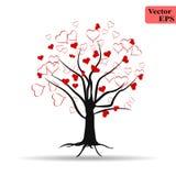 Progettazione romantica dell'illustrazione dell'icona di amore dei cuori dell'albero Disegno del biglietto di S Albero di amore c illustrazione di stock