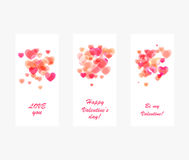 Progettazione rosa brillante del biglietto di S. Valentino dei cuori Fotografie Stock Libere da Diritti
