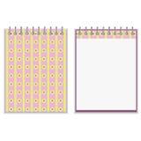 Progettazione rosa e gialla di stile floreale del taccuino della copertura illustrazione di stock