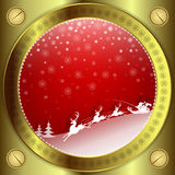 Progettazione rossa di Natale con la struttura dell'oro illustrazione di stock