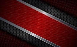 Progettazione rossa geometrica con la griglia del metallo e struttura strutturata rossa con un bordo leggero Fotografie Stock