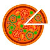 Progettazione rotonda della pizza con i pomodori ed il pepe nello stile piano vector l'illustrazione di pizza affettata isolata s illustrazione vettoriale