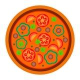 Progettazione rotonda della pizza con i pomodori ed il pepe nello stile piano vector l'illustrazione di pizza isolata su fondo bi illustrazione vettoriale