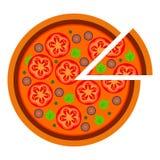 Progettazione rotonda della pizza con i pomodori nello stile piano vector l'illustrazione di pizza affettata isolata su fondo bia illustrazione di stock