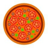 Progettazione rotonda della pizza con i pomodori nello stile piano vector l'illustrazione di pizza isolata su fondo bianco Insiem royalty illustrazione gratis