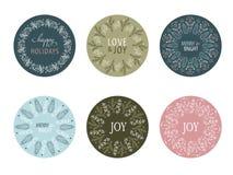 Progettazione rotonda di Natale per le etichette e gli autoadesivi del regalo Fotografia Stock