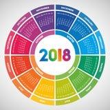 Progettazione rotonda variopinta del calendario 2018 illustrazione di stock