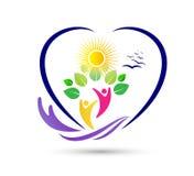Progettazione sana di logo della foglia della gente di agricoltura di risparmi di cura della natura Atletico, equilibrio logo di  illustrazione vettoriale