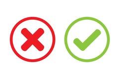 Progettazione sbagliata trasversale dell'icona di vettore del segno di spunta royalty illustrazione gratis