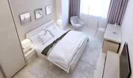 Progettazione scandinava della camera da letto Immagine Stock Libera da Diritti
