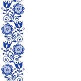Progettazione scandinava della cartolina d'auguri, progettazione di vettore di arte di piega retro, ornamento con i fiori nella b Fotografie Stock