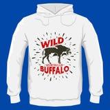 Progettazione selvaggia del distintivo di vettore della Buffalo, progettazione della stampa di maglia con cappuccio di vettore Fotografie Stock Libere da Diritti