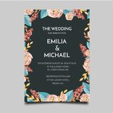 Progettazione semplice ed elegante di nozze del modello floreale dell'invito royalty illustrazione gratis