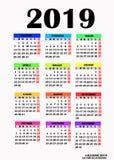 Progettazione semplice per il calendario 2019 Vettore illustrazione di stock