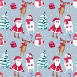 Progettazione senza cuciture del modello di Natale con il pupazzo di neve, Santa, cervi e illustrazione vettoriale