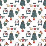 Progettazione senza cuciture del regalo di natale del modello di vettore dell'albero di Natale Pinguino sveglio Illustrazione di  illustrazione di stock