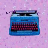 Progettazione senza cuciture della macchina da scrivere disegnata a mano Immagini Stock Libere da Diritti