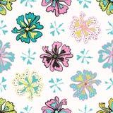 Progettazione senza cuciture di ripetizione di vettore di Memphis Style Polka Dot Flower, schiocco disegnato illustrazione di stock