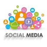 Progettazione sociale dell'illustrazione di vettore di concetto di media royalty illustrazione gratis