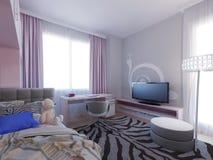 Progettazione spaziosa della camera da letto della ragazza Immagini Stock