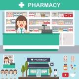 Progettazione stabilita della farmacia della farmacia di vettore Immagini Stock Libere da Diritti