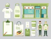 Progettazione stabilita della parte anteriore del negozio del caffè del ristorante di vettore, aletta di filatoio, menu illustrazione di stock