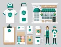 Progettazione stabilita della parte anteriore del negozio del caffè del ristorante di vettore, aletta di filatoio, menu, packa royalty illustrazione gratis