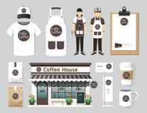 Progettazione stabilita della parte anteriore del negozio del caffè del ristorante di vettore, aletta di filatoio, menu, packa Immagini Stock Libere da Diritti