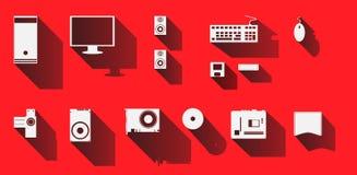 Progettazione stabilita delle icone del computer, vettore dell'illustrazione Fotografia Stock Libera da Diritti