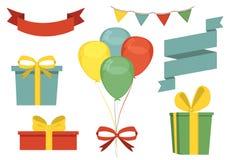 Progettazione stabilita per la cartolina d'auguri La festa, compleanno Fotografia Stock Libera da Diritti